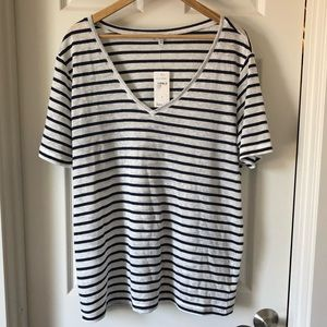 Splendid cotton linen blend stripe top tee